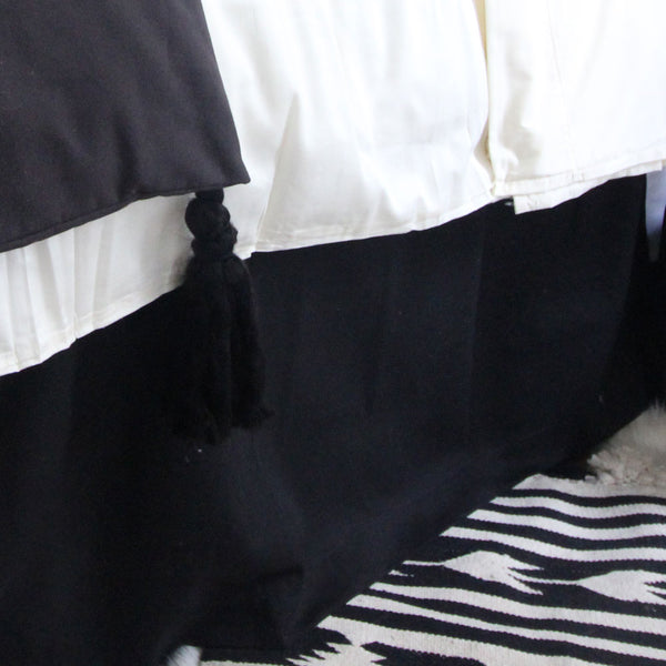 Solid Black Extra Long Dorm Bed Skirt