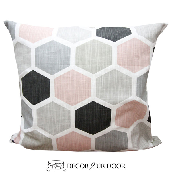 Blush Geometric Euro Pillow Cover