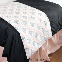 Black and Blush Mosaic Bed Scarf