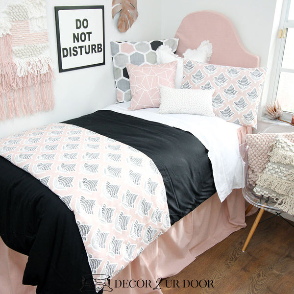 Black & Blush Mosaic Dorm Bedding Set