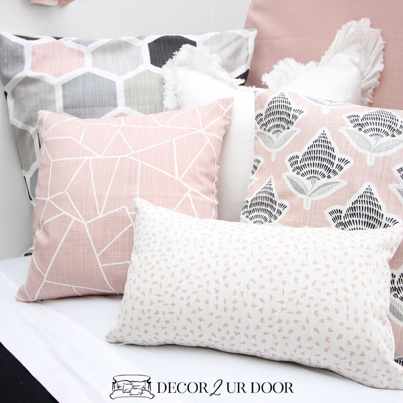 Black and Blush Mosaic Pillow Pile