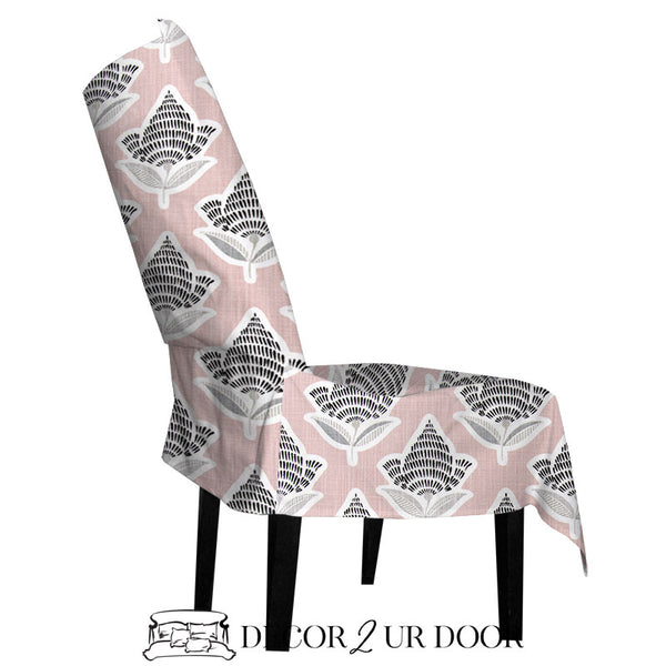Black and Blush Mosaic Dorm Chair Cover with Storage Pocket