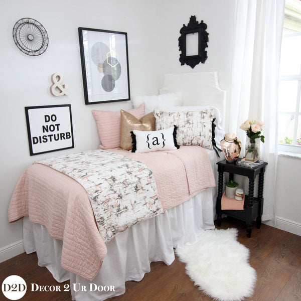 Blush Pink Amp Rose Gold Carrara Marble Designer Bedding