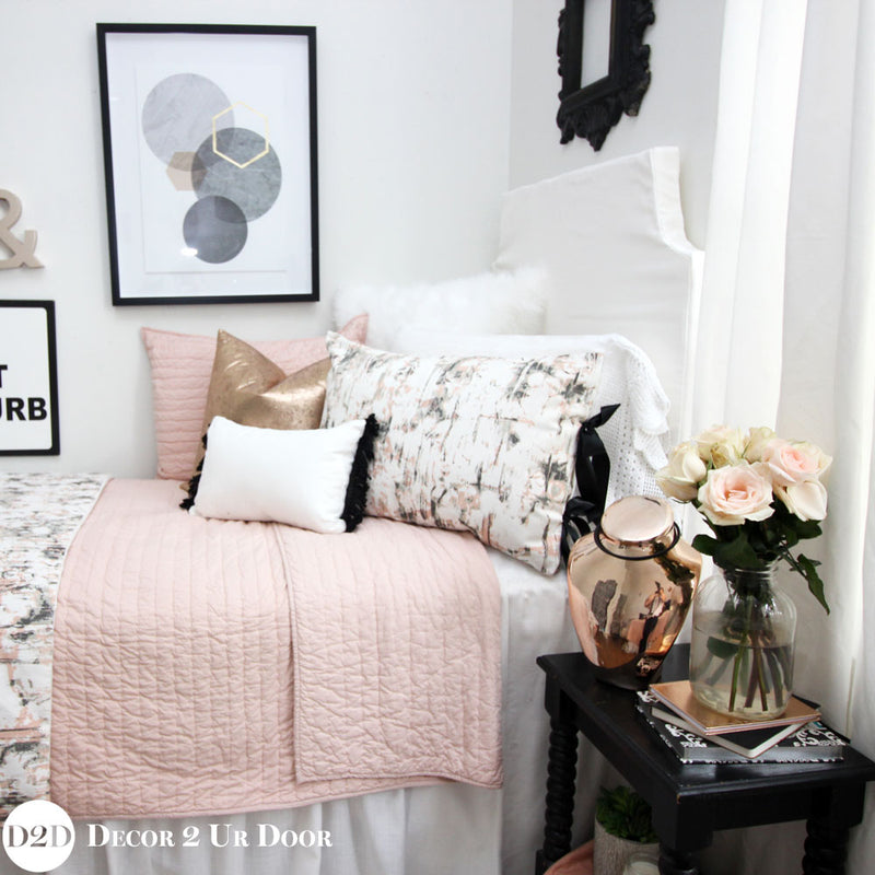 Blush Pink & Rose Gold Carrara Marble Designer Bedding Collection