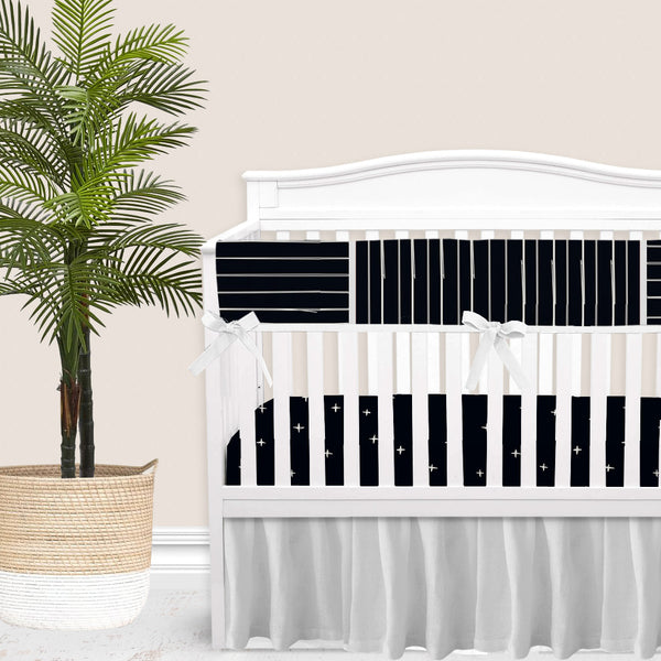 Black Bone Stripes Gender Neutral Baby Bedding Set
