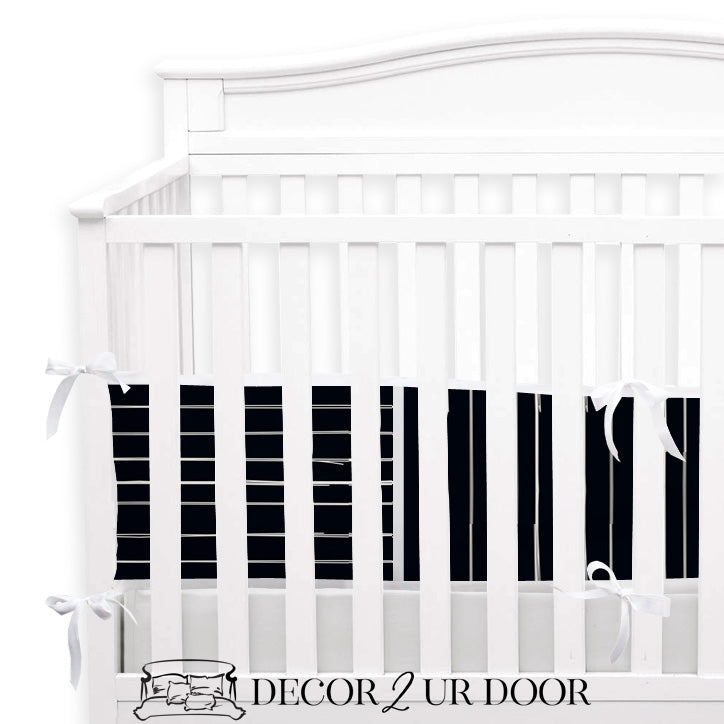 Black Bone Stripes 2-in-1 Crib Bumper/Rail Cover