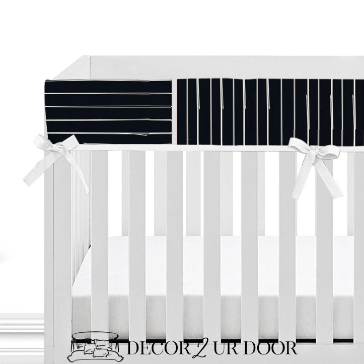 Black Bone Stripes Baby Crib Rail Cover