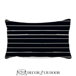Black Bone Stripes Lumbar Nursery Throw Pillow Cover
