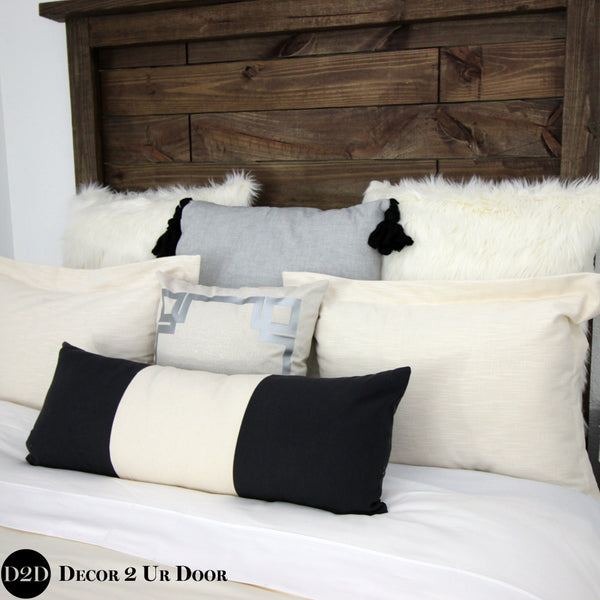 Black, Ivory & Grey Plaid Designer Bedding Collection