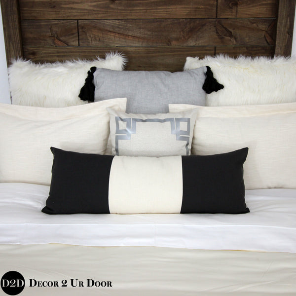 Ivory & Black Two-Tone Long Lumbar Pillow Cover