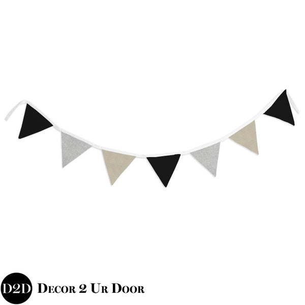 Black, Ivory & Grey Wall Fabric Pennant Banner