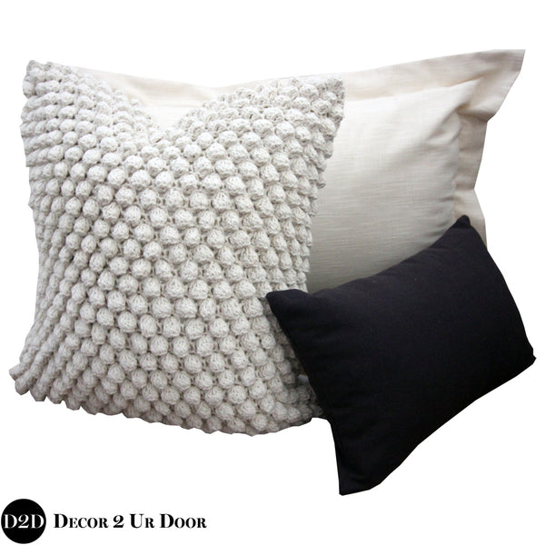 Black & Ivory Organic Textured Pillow Pile