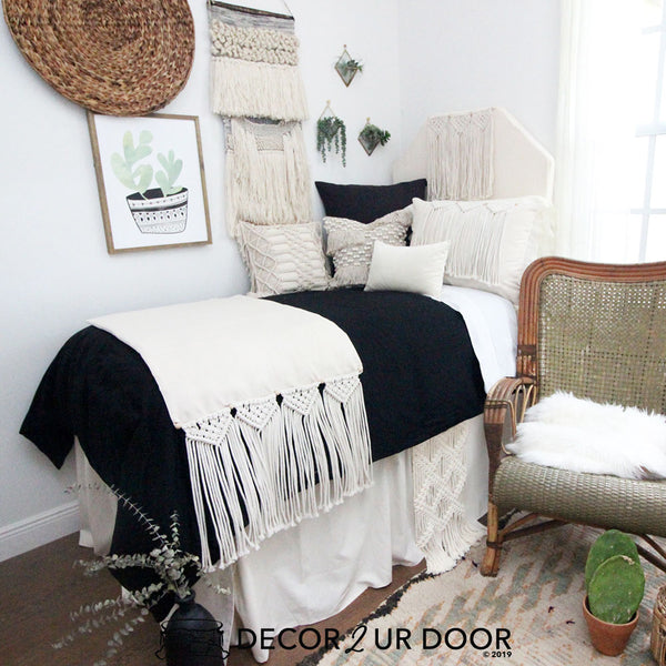 Black and Natural Macrame Designer Bedding Collection
