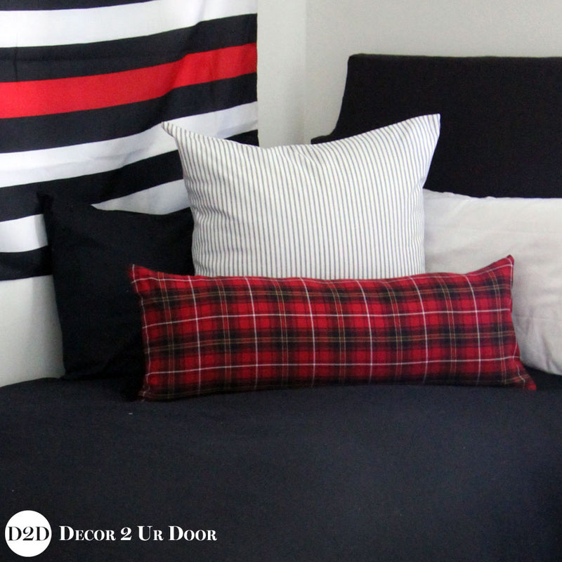 Black & Red Plaid Pillow Pile