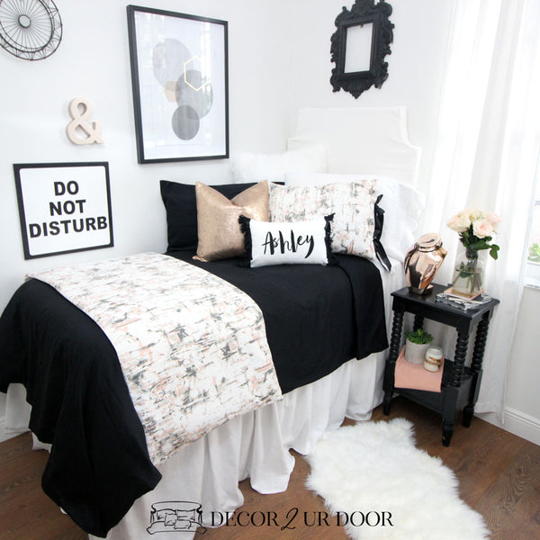 Black Rose Gold Marble Dorm Bedding Set