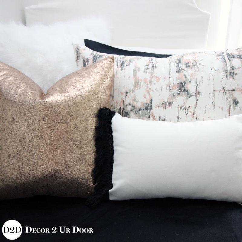 Rose Gold & Carrara Marble Pillow Pile