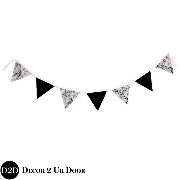Black and Blush Carrara Marble Wall Fabric Pennant Banner