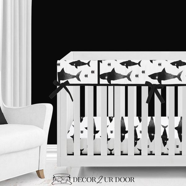 Black & White Shark Attack Baby Crib Rail Cover