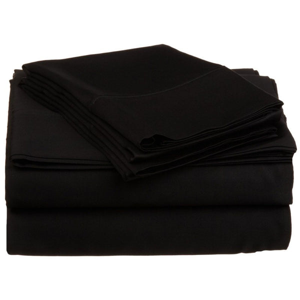 Solid Black 300 Thread Count 100% Cotton Sheet Set