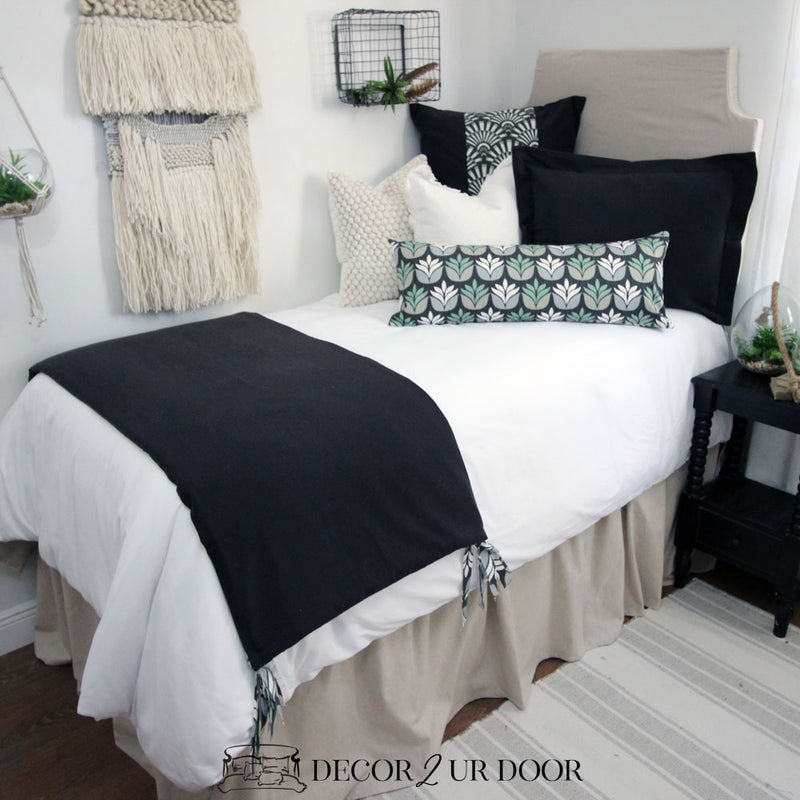 Tan & Black Succulent Dorm Bedding Set