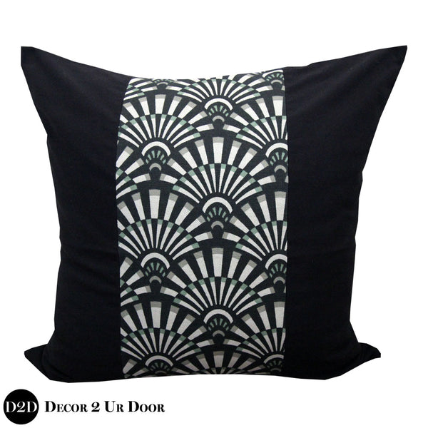 Black Succulent 2-Tone Euro Pillow Cover