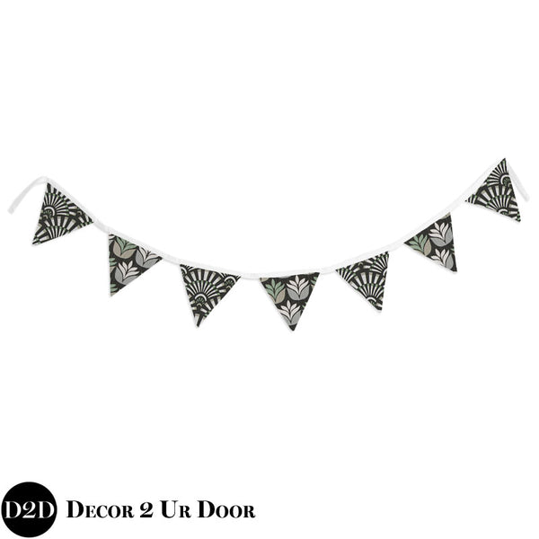 Black Succulent Wall Fabric Pennant Banner