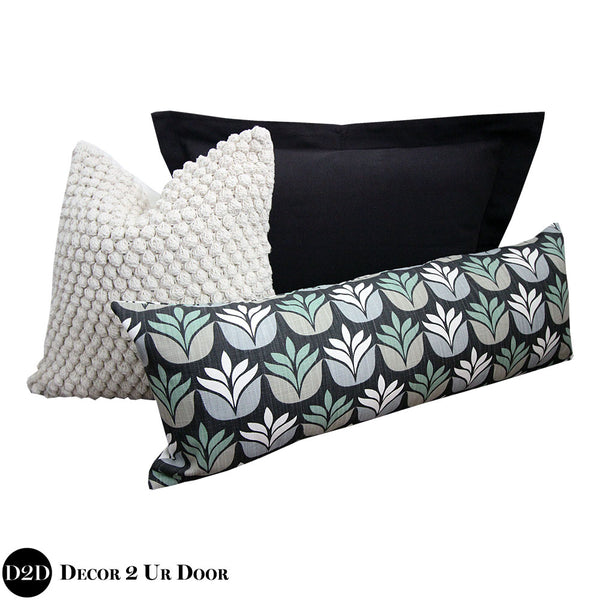 Tan & Black Succulent Pillow Pile