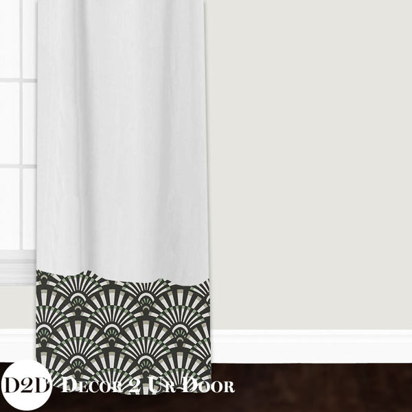 White & Black Succulent Custom Window Curtain/Closet Panel
