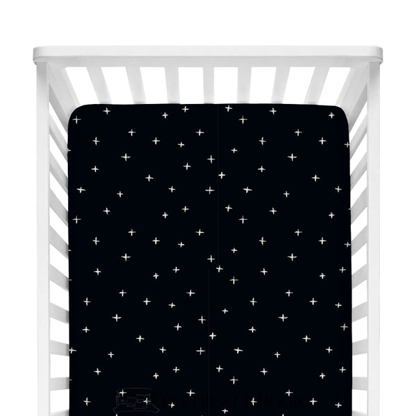 Black Swiss Cross Fitted Crib Sheet