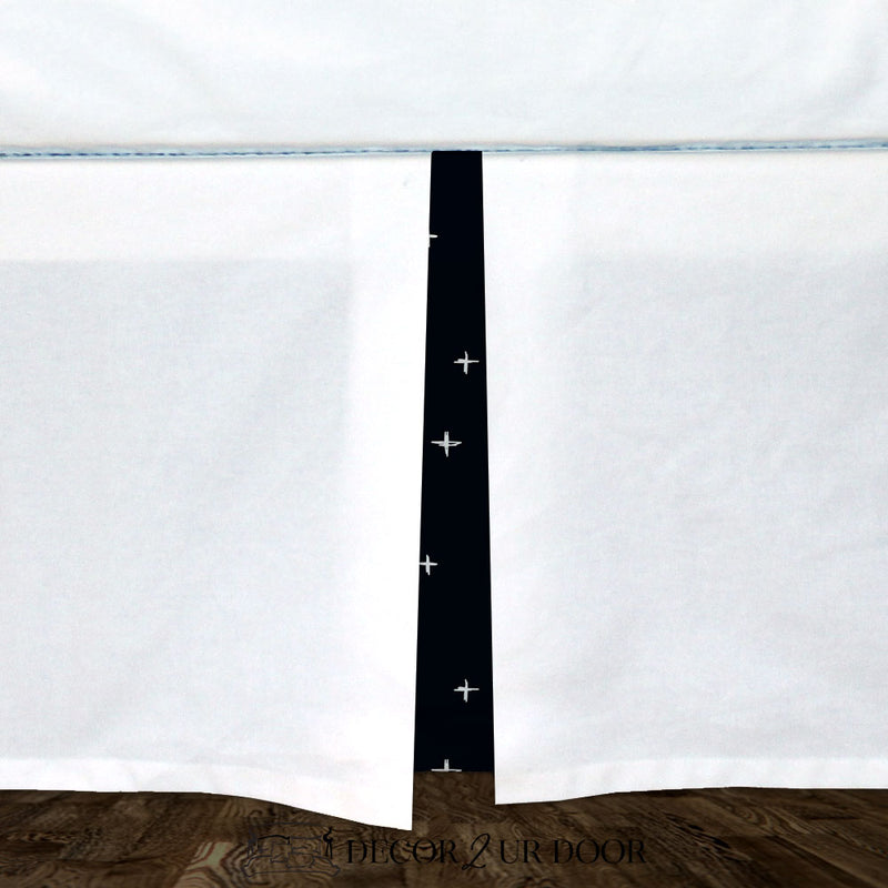White & Black Swiss Cross Baby Crib Skirt