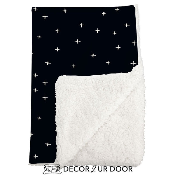 Black Swiss Cross Sherpa Baby Blanket