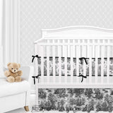 Shabby Chic Black & White Toile Gender Neutral Crib Bedding Set