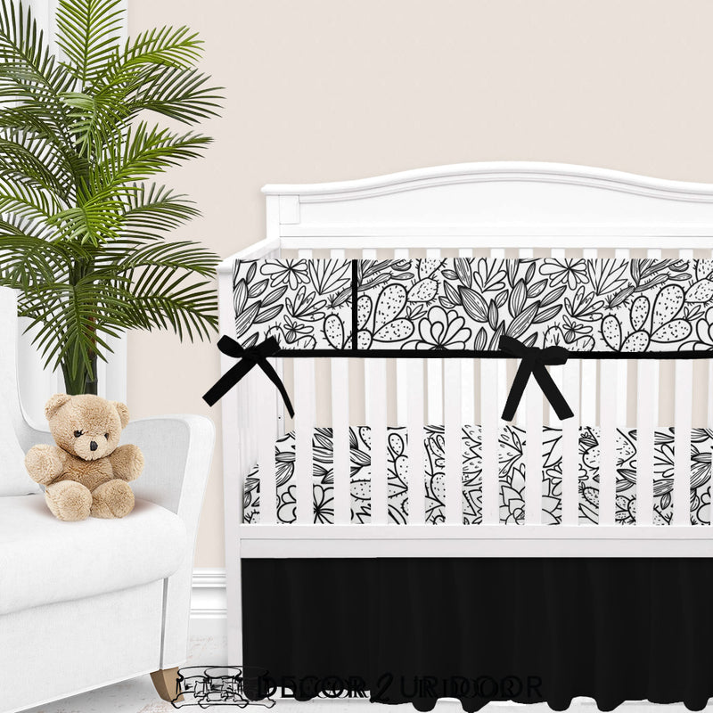 Black & White Cactus + Succulents Baby Crib Rail Cover