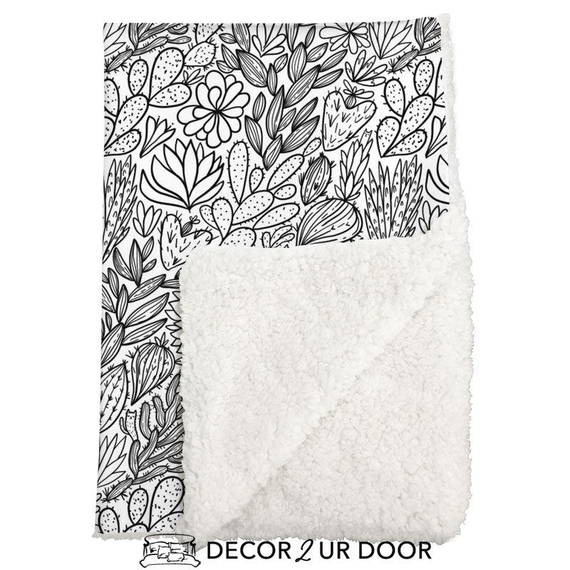 Black & White Cactus + Succulents Tile Sherpa Baby Blanket