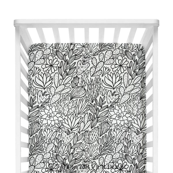 Black & White Cactus + Succulents Fitted Crib Sheet
