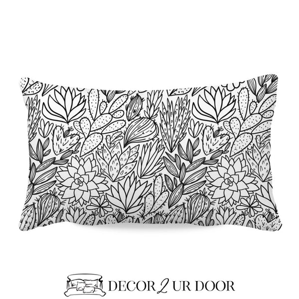 Black & White Cactus + Succulents Lumbar Nursery Throw Pillow Cover