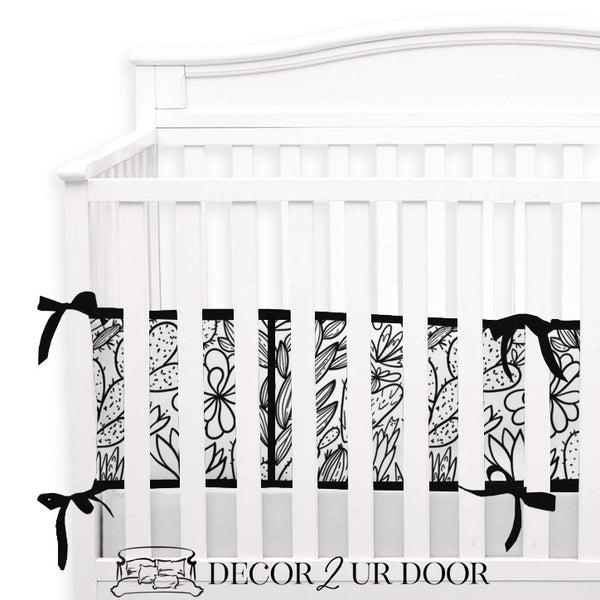 Black & White Cactus + Succulents 2-in-1 Crib Bumper/Rail Cover
