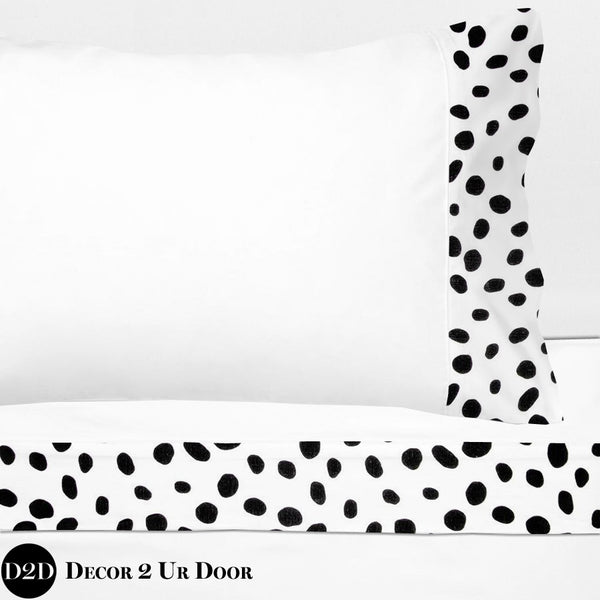 Black & White Dalmatian Print 100% Cotton Banded Sheet Set