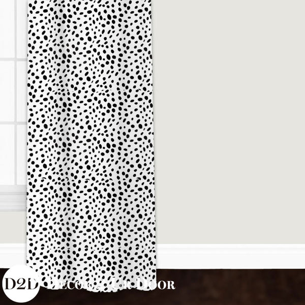 Black & White Dalmatian Print Custom Window Curtain/Closet Panel