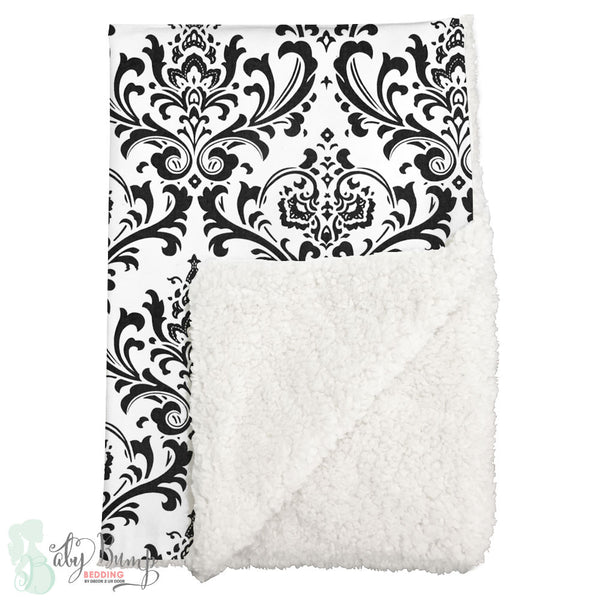 Black & White Damask Sherpa Baby Blanket
