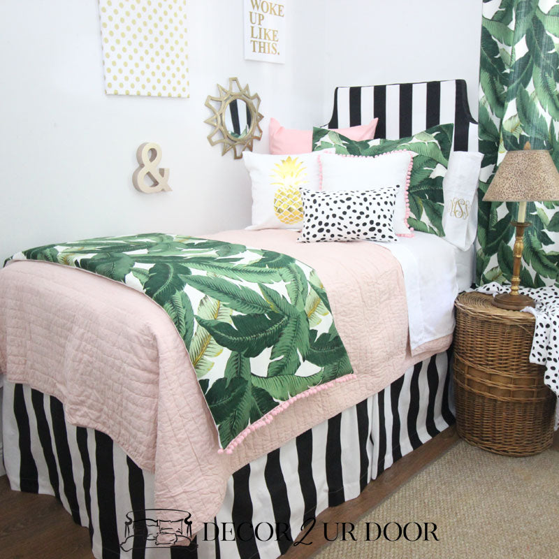 Black and White Stripes Dorm Bed Skirt & Headboard Bundle