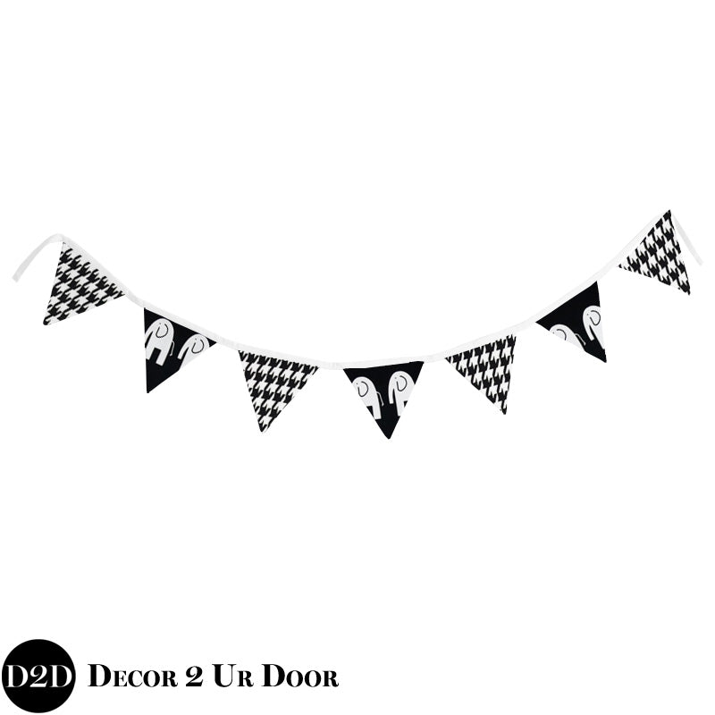 Black & White Elephant Wall Fabric Pennant Banner