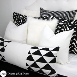 Black & White Geo Triangles Long Lumbar Pillow Cover