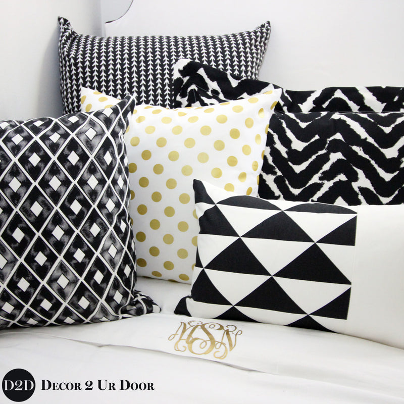 Black & White Marker Print Pillow Pile