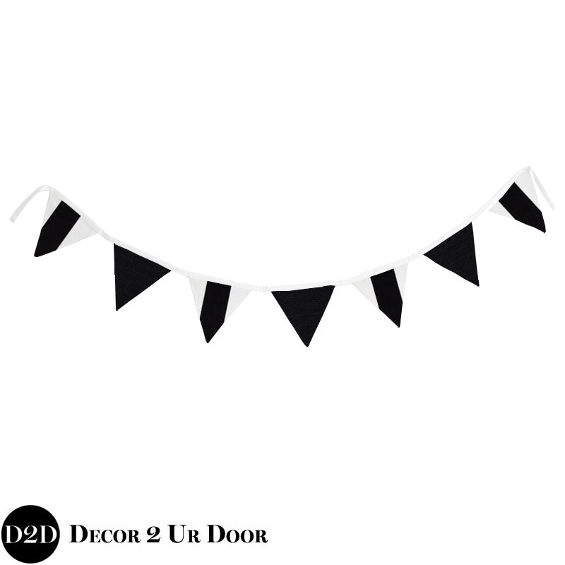 Black & White Wall Fabric Pennant Banner