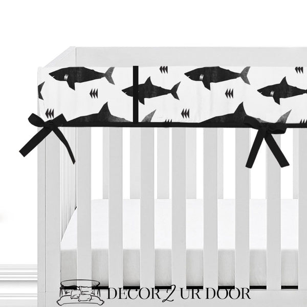 Black & White Shark Attack 2-in-1 Crib Bumper/Rail Cover