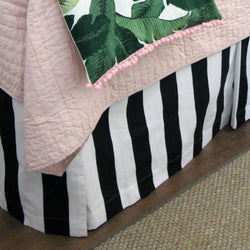 "Black & White Stripes 15"" Drop Bed Skirt"
