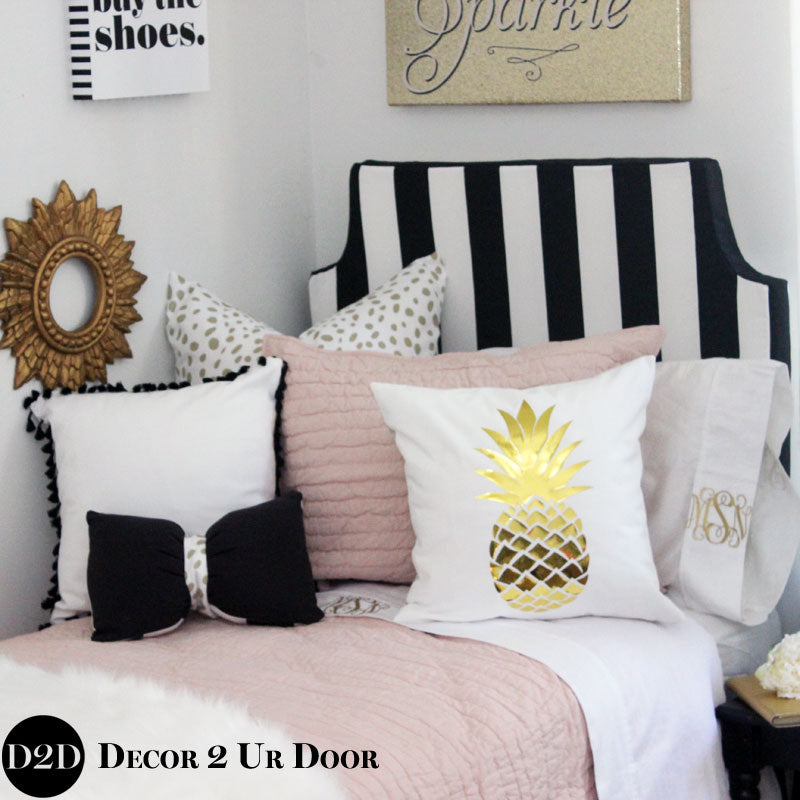 Black and White Stripes Padded Fabric Headboard