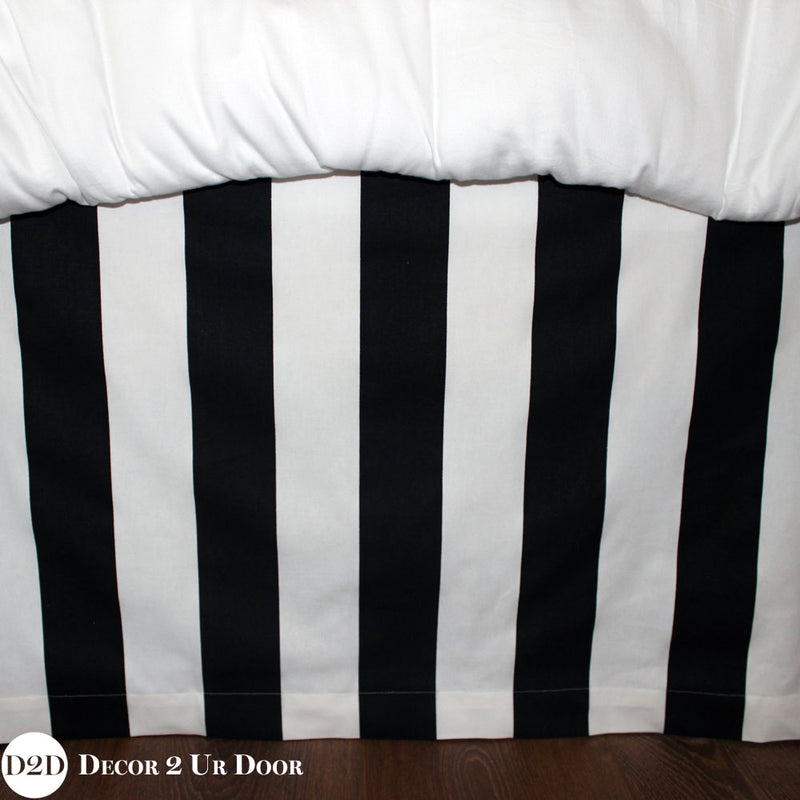 Black & White Stripes Extra Long Dorm Bed Skirt