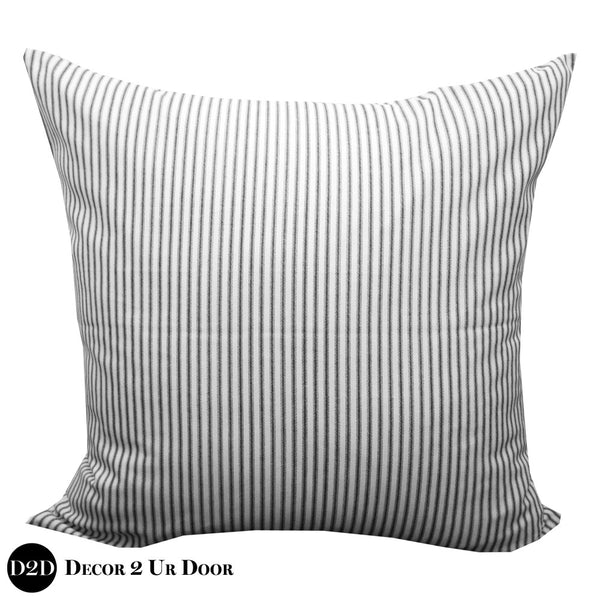 Black & White Ticking Stripe Euro Pillow Cover